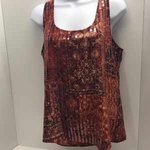 Lucky Brand Sequined Tank Top Sleeveless size M